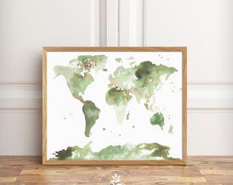 Earthy Greens - INSTANT DOWNLOAD - world map, kids room art, nursery art, wall decor, living room art by Faboomie