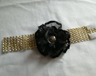 Gold Flower rhinestone Cuff Bracelet black organza, elegant evenings