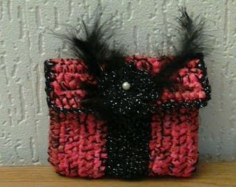 Wallet, chic zipper pouch, Belt pouch, bag mottled red/black/lurex silver, made of plastic bags