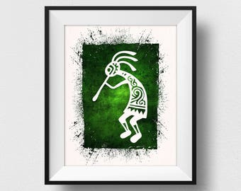 Kokopelli Wall Art, Kokopelli Wall Decor, Spiritual Art, Native American Spirit, Watercolour Home Decor, Kokopelli Painting (N521)