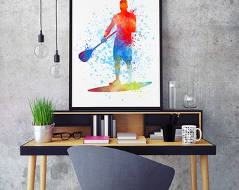 Stand Up Paddle Art, Stand Up Paddle Print, Paddleboarding, Stand Up Paddler, SUP, Watercolour Prints, Sports Decor  (N070)
