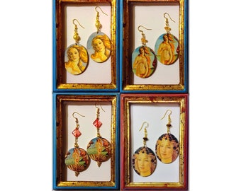 Venus by Botticelli Primavera of Botticelli handmade earrings handmade decoupage art