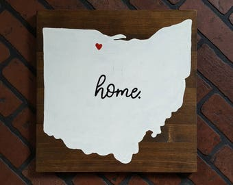 Home State Outline Silhouette wood sign