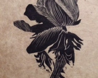 original limited edition linocut print of a flower