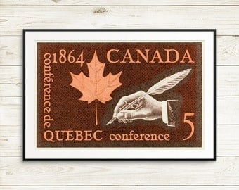 P012 Quebec Canada, Quebec Conference, Quebec stamp, stamp collector, stamp gift, rare stamps, Canadian art, Canada poster, made in canada