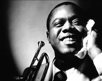 Louis Armstrong Iconic Black & White Canvas Box Art or Print A4, A3, A2, A1 ++