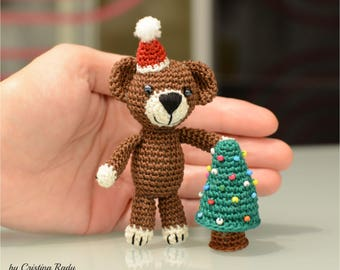 Teddy bear Xmas decoration, stocking stuffers gifts, unique ornament, crochet brown bear, cuddly toy teddy