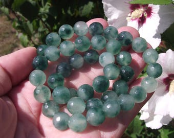 FACETED 10 MM MULTICOLOR JADE BEADS 4 A.