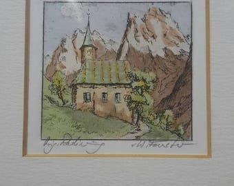 ON SALE Vintage Framed Etching by Willi Foerster