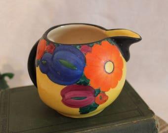 Collectible J Mrazek Creamer Pitcher ~ Czech Peasant Art Pottery ~ Art Deco ~ 1920s