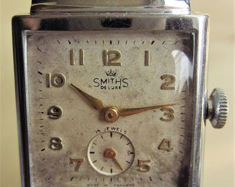 Very Rare Smaller Gents 1950s Smiths DeLuxe 15J Mech 8 3/4 Movt Tank Watch + Sub Dial for Sale