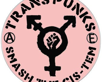 Trans Punks Smash the Cis-stem logo button (black on pink)