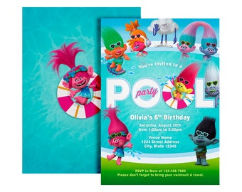 Trolls Pool Party Invitation, Trolls Birthday Invitation, Trolls invitation, Trolls Digital Invitation, Trolls Party, Trolls
