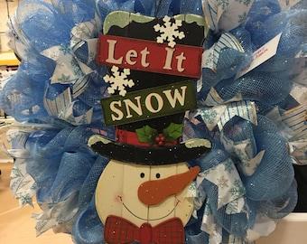 Blue Snowman Wreath