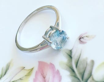 Blue Topaz Silver Ring, Solitaire Ring, Sterling Silver Blue Topaz Ring, Gemstone Ring, Gift For Her.