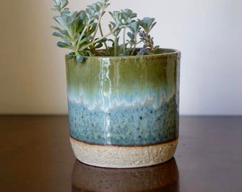 Blue Dipped Plant Pot