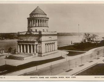 Grant's Tomb & Hudson River REAL PHOTO Rotary Photo New York RPPC Postcard