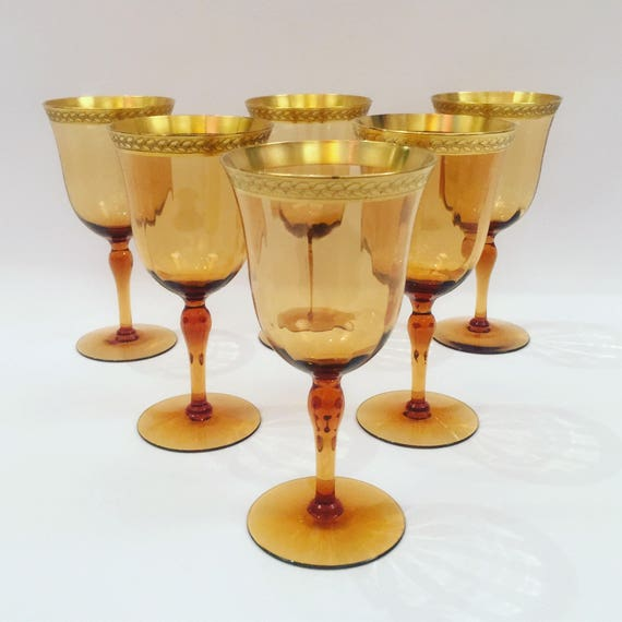 6 Venetian Amber Art Glass Gilt Wine Goblets Circa 1940's Italian