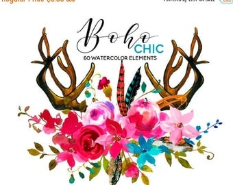 45% off 2 days Watercolor Boho Clipart Pink Blue Flowers Deer Scull Horns Antlers Arrows Clipart Floral Elements Bouquets Sprays DIY Wedding