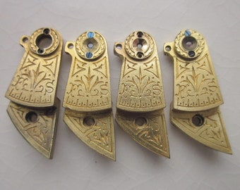 Vintage Balance Cocks, Four Matching Pieces, Brass with Floral Etching, 22mm x 9mm