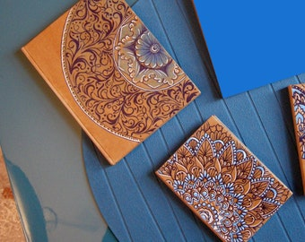 2 hand-painted notebooks with acrylic colors - sizes 8x11 and 11x15