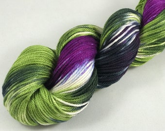 "Hand Dyed DK Yarn, 100% Pima Cotton, 218 Yards, 100g ""Fearless"""