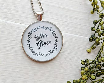 By His Grace wreath necklace - grace, custom,handmade necklace, necklace, wreath