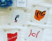 Ohio Local Sports Pride Glass Coasters // Buckeye Coasters // Bearcats Coasters // Bengals Coasters // Reds Coasters // Sports Coasters
