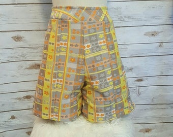 Vintage, 1960s, plaid & floral high-waisted shorts, size 14