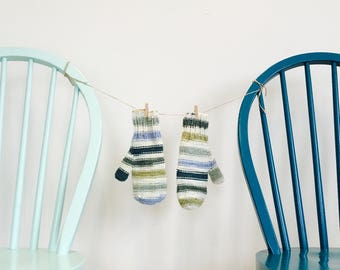 Striped mittens - blue/green/white - soft