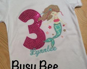 Custom Appliqued Mermaid Birthday Shirt
