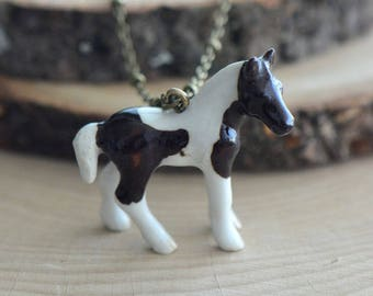 Hand Painted Porcelain Brown White Pony Necklace, Antique Bronze Chain, Vintage Style, Ceramic Animal Pendant & Chain (CA258)