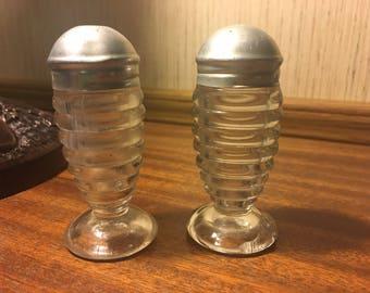 Vintage glass salt pepper shakers