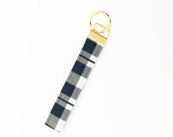 Plaid Key Fob - Gold, Black, Cream - Key Chain - #Basic Collection