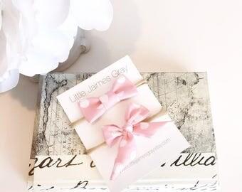 Bows, mini bows, pink, polka dot, baby girl