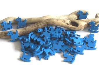 Blue rocking horse wooden 30 beads