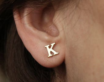 14k Solid Gold-Initial Stud Earrings-Earrings-Gold-Personalized-Gift- Initial Jewelry-14k-Gold initial Earrings-Personalized Letter Earrings
