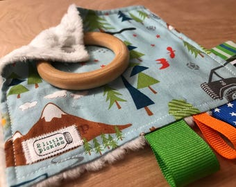 """5"""" Taggie Toy with 2"""" Wood Teether - """"J"""" is for Jeep"""