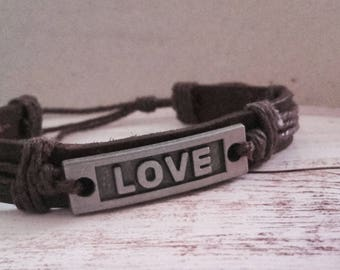 Love charm bracelet dark brown