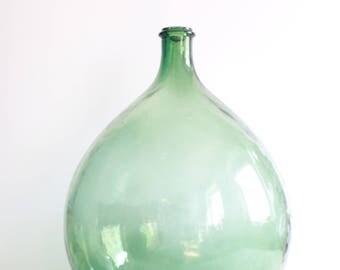 Vintage green demijohn bottle 25 liters - French green glass demijohn carboy wine bottle 20 liters - Big round demijohn bottle