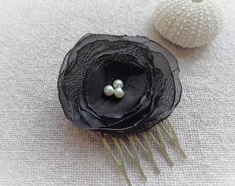 Bronze ceremonial black backing fabric flower hair comb