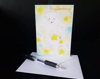 Bear with babies - Congratulation Card