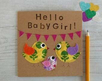 Baby Card - Baby Girl - Baby Boy - Congratulations Card - Handmade Card - Animal Card