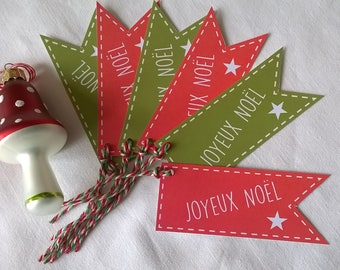 6 Christmas tags style red and Green Ribbon
