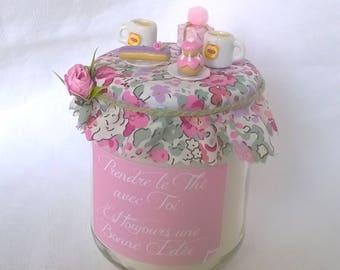 "Rose pink candle ""Tea with you"" on liberty"