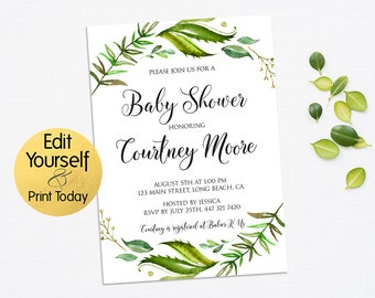 Greenery Baby Shower Invitation, Greenery Invitation Template, Editable Baby Shower, Baby Shower Template, Greenery Invitation, Leafy Invite