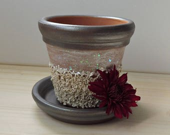 Hand Painted Clay Pot, Painted Terracotta Pot, Gravel Clay Pot, Rustic Painted Cay Pot, Handmade Decor, Garden Decoration, Painted Pottery