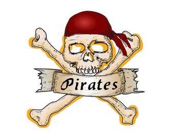 Transfer pirates skull red headband for light fabrics 8,5 x 8,5 cm fusible