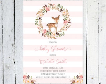 Baby Shower Invitation Girl, Deer, Stripes, Wreath, Flowers, Boho, Printable, Printed