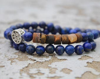 """Crystal healing jewelry """"confidence and strength"""", mens bracelet, double bracelet tour, elastic"""